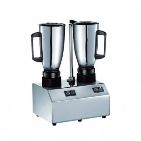 Double Professional Over-the-Counter Blender - En verre inoxydable Lt. 1.5 plus 1.5