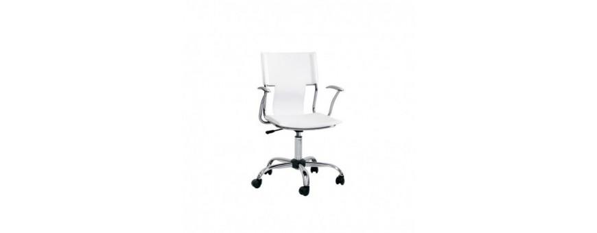 Poltrona ufficio in acciaio cromato, seduta e schienale in ecopelle