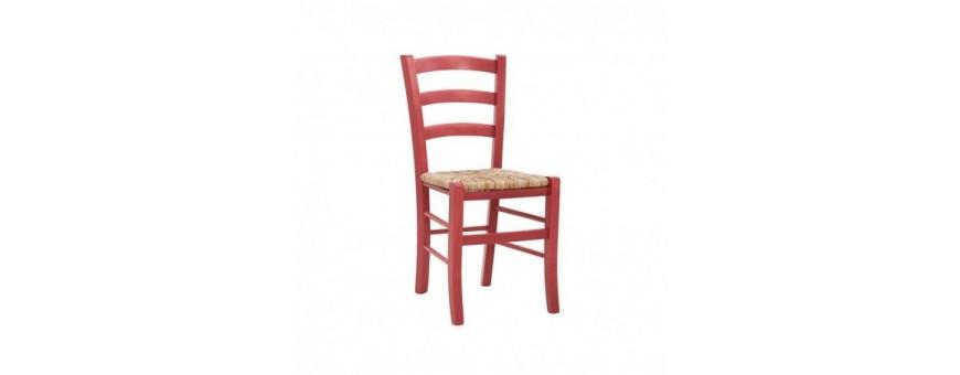 Sedia in legno con seduta impagliata