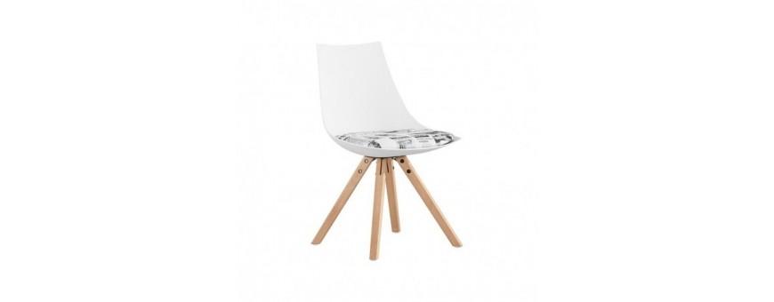 Sedia in metallo, legno e polipropilene con cuscino in tessuto