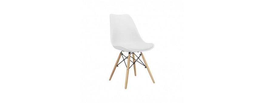 Sedia in metallo, legno e polipropilene con cuscino in ecopelle