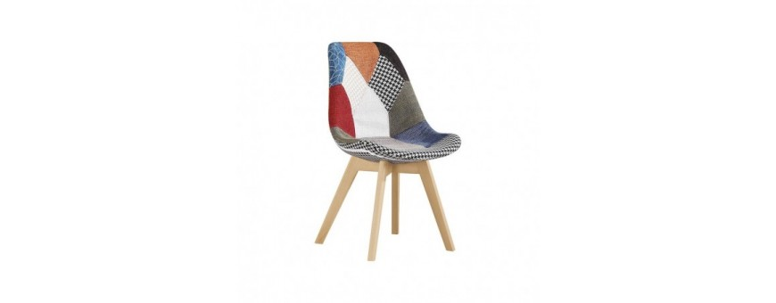 Sedia in legno, rivestimento in tessuto