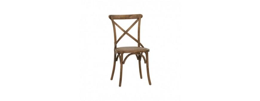 Sedia in legno, effetto anticato, seduta in rattan