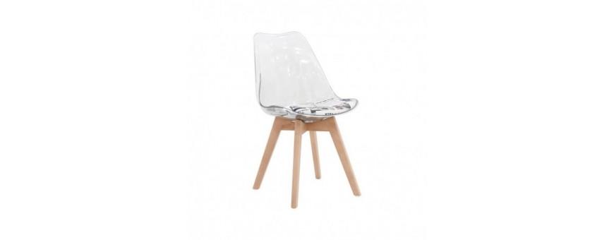 Sedia in legno e policarbonato con cuscino in tessuto