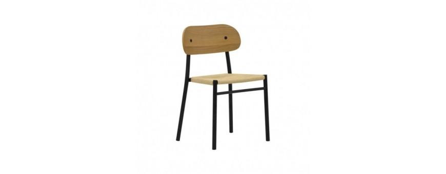 Sedia in metallo verniciato, seduta impagliata, schienale in multistrato