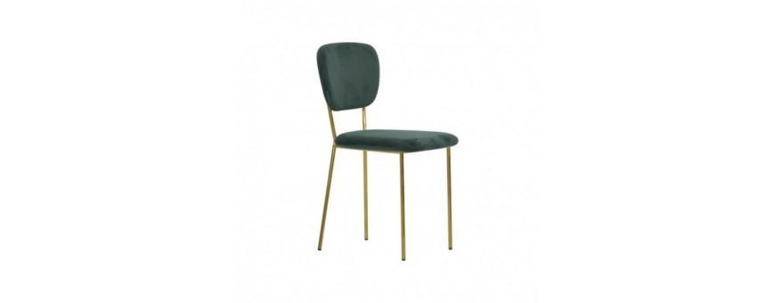Chaise en métal chromée d'or, doublure en velours