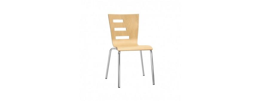 Sedia in acciaio cromato Ø22 mm e legno multistrato
