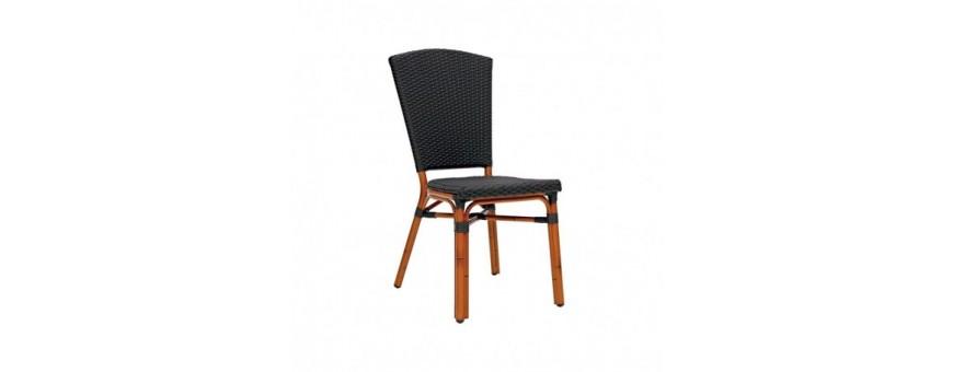 Sedia in alluminio verniciato bambù, rivestimento in filo di polietilene