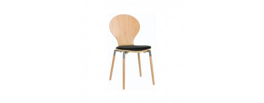 Sedia in acciaio cromato, legno e legno multistrato con cuscino in ecopelle