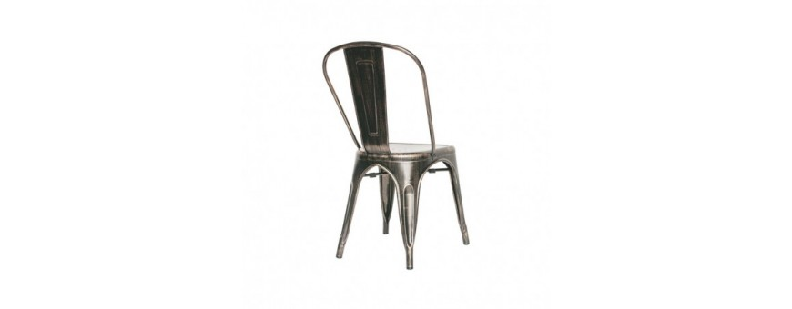 Sedia in metallo verniciato effetto anticato
