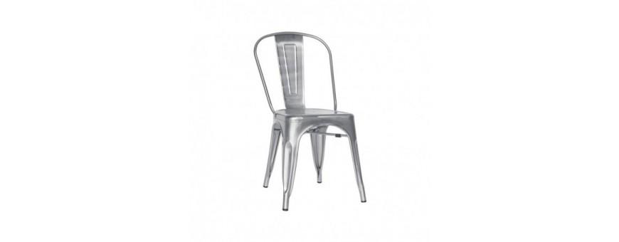 Sedia in metallo zincato e vernice trasparente