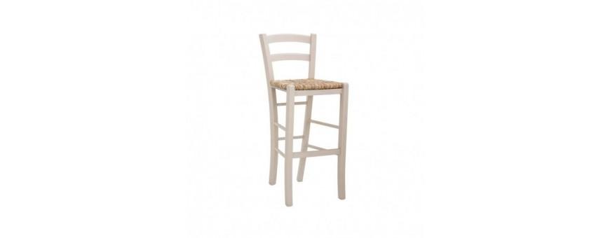 Sgabello  in legno con seduta impagliata