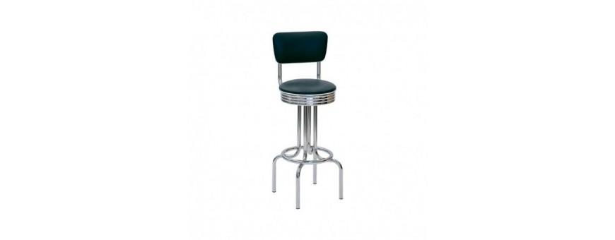 Sgabello in acciaio cromato, schienale e seduta girevole in ecopelle